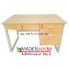 โต๊ะทำงาน ขาเหล็กตัว C 3 ลิ้นชัก ขนาด W.120 / 150 / 180 cm รหัส 599