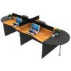 โต๊ะทำงานกลุ่ม 4ที่นั่ง WORKSTATION MINI SCREEN หุ้มเหล็ก ตัวต่อโค้งเพิ่มพื้นที่การใช้งานที่หัวและท้ายชุด รหัส 2671